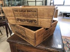 """pair of wooden boxes stamped """"Great British Bake Off"""""""