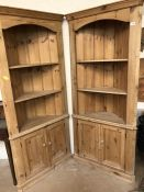 Pair of Pine corner units with shelves and Cupboards under