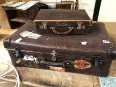 Two Vintage leather travel cases