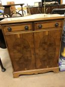 Inlaid cupboard with two drawers (Approx 77 x 28 x 91cm tall)
