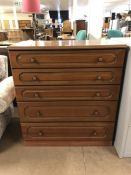 Modern chest of five drawers