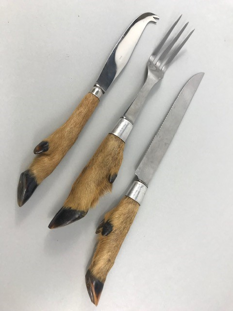 Lot 10 - Three French Deer's foot carving implements
