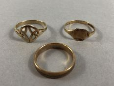 Three 9ct Gold rings of various designs approx 5.5g