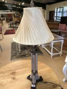 Modern ornate table lamp with cream shade