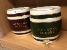 Pair of 20th Century Mendoza Sherry pottery barrels, 31cm high