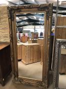 Large contemporary French-style, gold framed, bevel-edged mirror. Approx dimensions 1752mm x 889mm