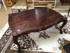 French-style dark wood large coffee table with scalloped edge