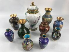 Collection of twelve Cloisonne vases and urns