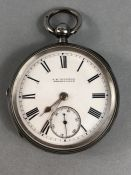 Silver Pocket Watch with White dial and Roman Numerals plus Subsidiary Dial. Face is marked for L.B.