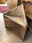 Low pine corner shelf