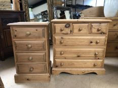 Pine small chest of six drawers and a small pine bedside of four drawers