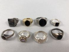 Eight Silver rings of various designs