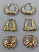 Three pairs of 9ct Gold earrings of various designs (approx 5g)
