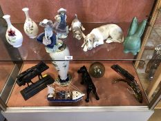 Collection of ceramics to include Lladro dog and Lladro puppy, Coalport, glassware and a train