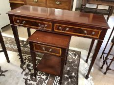 Two drawer console table and matching side table with drawer