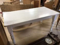 Painted Pine Farmhouse style table on turned legs