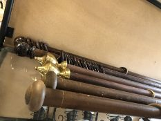 Three pairs of curtain poles - 1 pair dark brown wooden poles with ball finials, each approx 160cm x