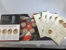 Winston Churchill 'Inspiration to the Nation' set of 1x 24ct GOLD Ten Pounds (3.112 grams), and five