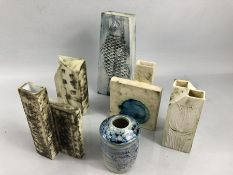 Six pieces of Carn Pottery, Penzance, Cornwall stoneware vases of abstract form with brush stroke