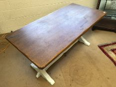 Refectory style table with oak top and painted carved legs