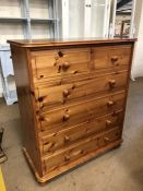 Pine bookcase and pine chest of six drawers