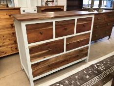 Modern painted six drawer chest of drawers approx 115cm x 51cm x 90cm tall