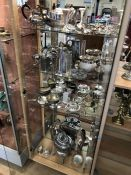 Large collection of plated ware to include spirit kettle, teapots, photo frames etc