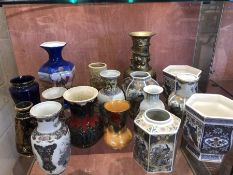 Collection of ceramics and a Chinese brass vase