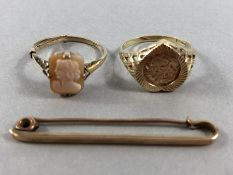 Two 9ct Gold rings and a 9ct Gold tie pin (total approx 6.4g)