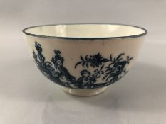 Caughley bowl, circa 1776-90, transfer printed in underglaze blue with the Mother and Child pattern,