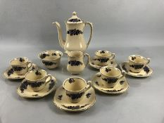 Wedgwood & Co England Coffee set in the Chelmsford pattern to include six coffee cups and Saucers