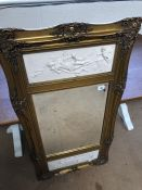 Gilt wall mirror with plaques to each side stamped FRANCOIS DUQENSNOY PARIS 1892 depicting Neo