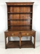 Oak two drawer welsh dresser with three shelves above. Width approx 122cm