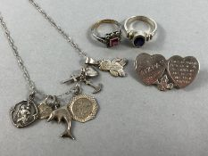 Collection of Silver items to include rings charms & Brooch