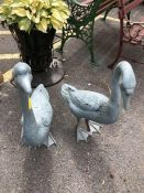 Pair of metal painted Geese approx 70cm tall