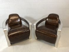 Pair of club chairs in an aviator style, approx 75cm wide x 90cm deep x 75cm tall