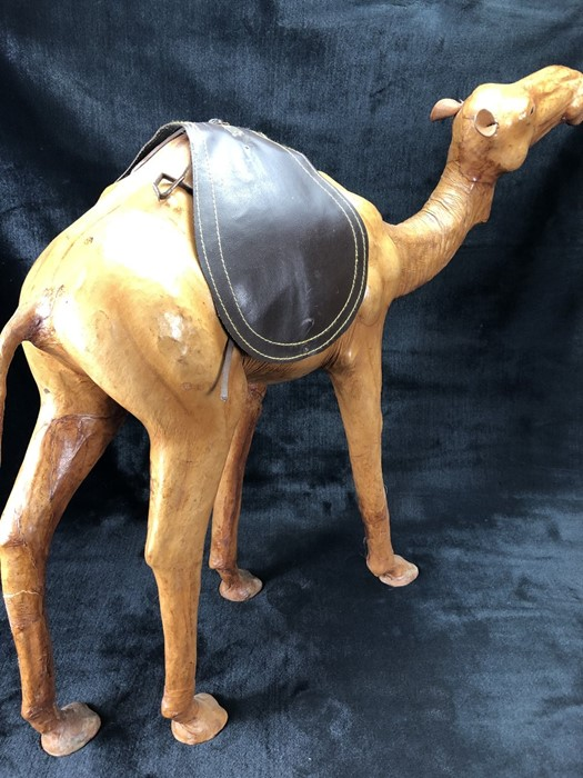 Lot 301 - Leather figure of a camel (believed to be originally from Liberty's) approx 62cm high (A/F)