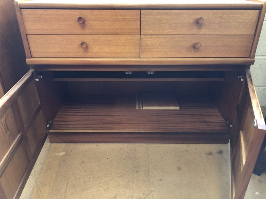 Lot 147 - Mid century teak sideboard with four drawers and cupboard under with panelled doors approx 102cm x