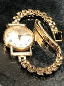 9ct gold watch with gold strap CYMA by Synchron 17 jewels, total weight approx 16.6g