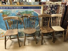 Four pine kitchen chairs (A/F)