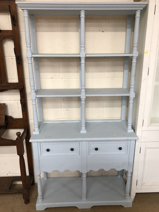 Lot 221 - Blue painted dresser with open shelves and cupboards under approx 98cm wide