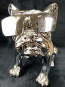 Silver coloured decorative bulldog wearing sunglasses, approx 31cm tall