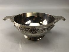 Silver London hallmarked twin handled Christening cup with applied silver decoration by Carrington &
