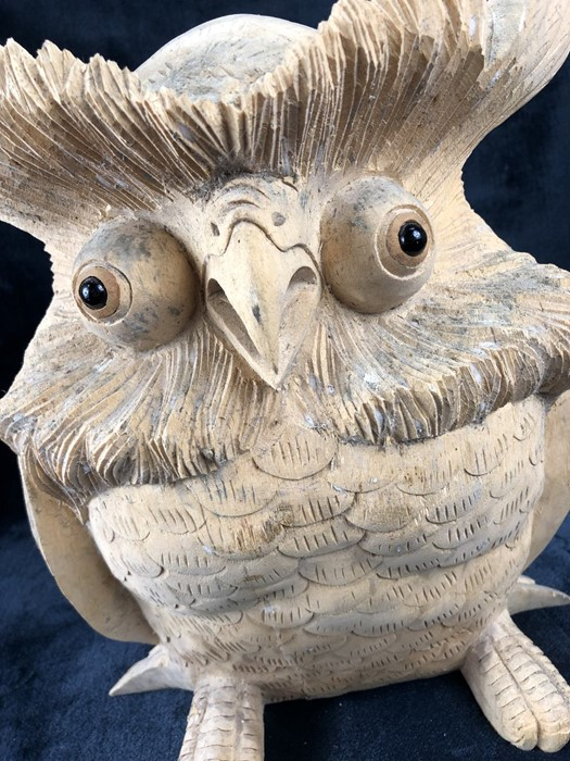 Lot 209 - Carved wooden owl approx 30cm in height