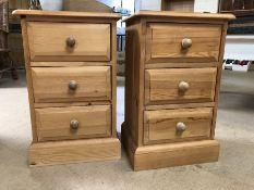 Pair of three drawer pine bedsides, approx 38cm x 61cm x 30cm each