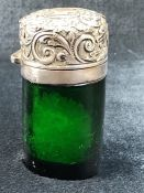 Hallmarked silver topped green glass scent bottle with original stopper - hallmarked Birmingham