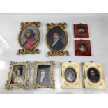 Set of eight miniatures depicting men and women