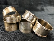 Collection of Silver hallmarked napkin rings (six) of various designs (total weight approx 182g)