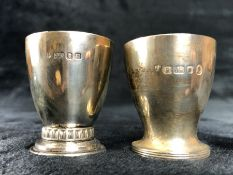 Two Silver hallmarked egg cups maked London and both by maker Edward Barnard & Sons Ltd (total