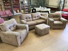 Contemporary fawn suede four piece suite comprising two seater sofa, two armchairs and footstool